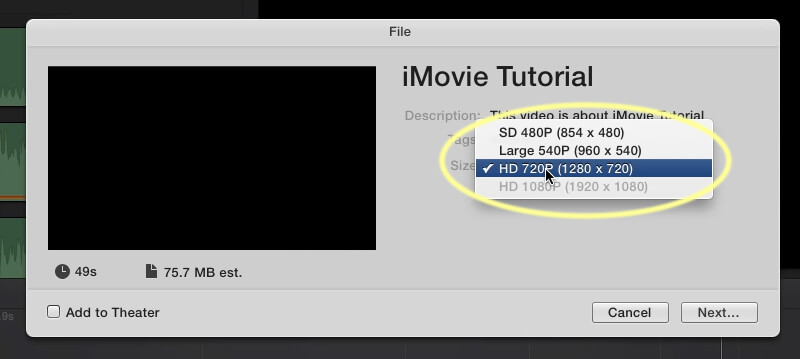 Export video from imovie