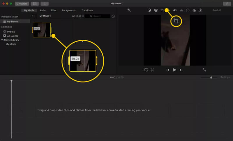 iMovie crop feature