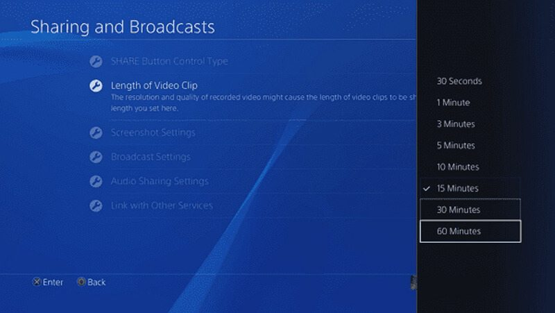 PS4 Video Recording Length